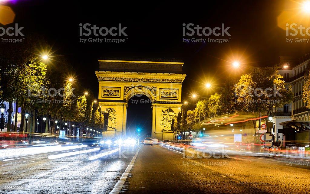 Arc de Triomphe in Paris the night city stock photo