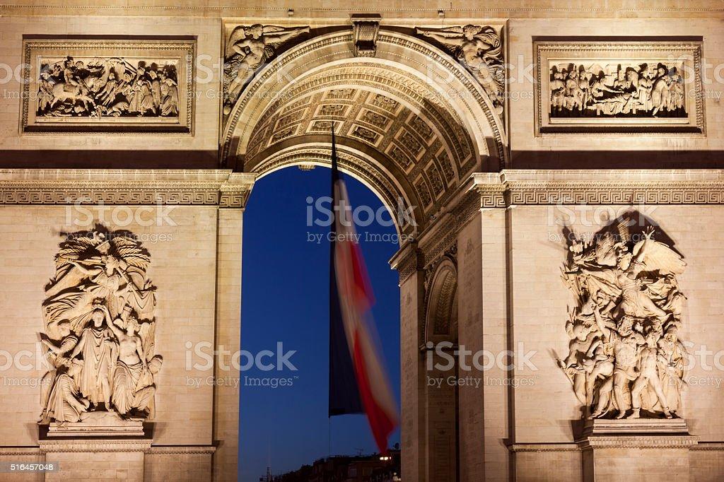Arc de Triomphe in the Charles de Gaulle square, Paris stock photo