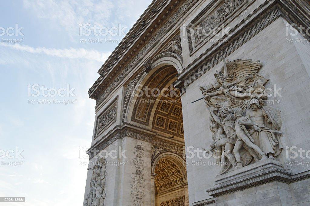 Arc de Triomphe La Marseillaise and Triomphe 1810 Pillars stock photo