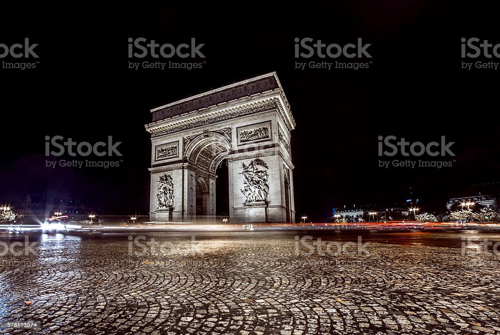 Arc de triomphe night view in Paris stock photo