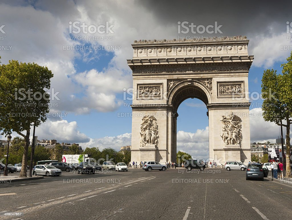 Arc de Triomphe on a weekday royalty-free stock photo