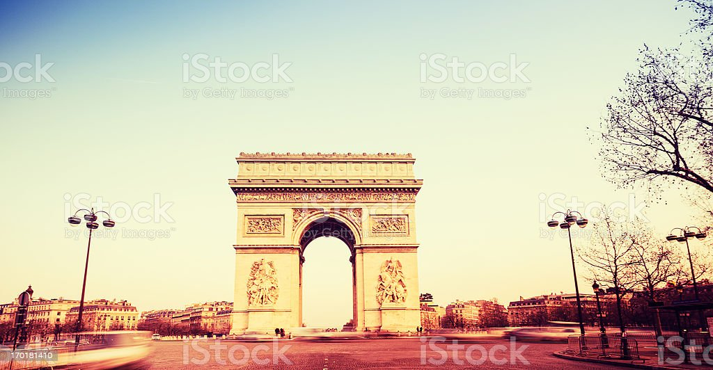 Arc de Triomphe on sunset royalty-free stock photo
