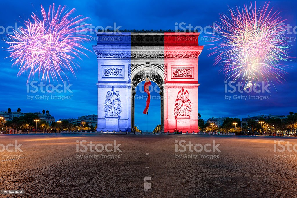 Arc de Triomphe Paris and Champs Elysees in France stock photo