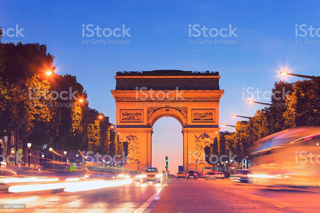 Arc de Triomphe, Paris by night stock photo