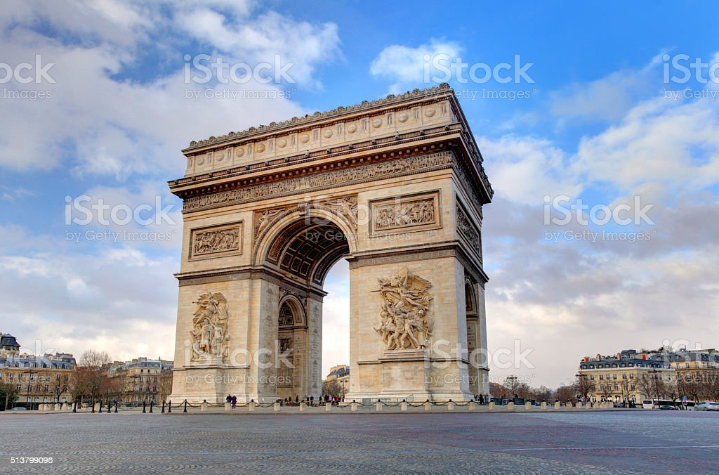 Arc de triomphe Paris city at day stock photo