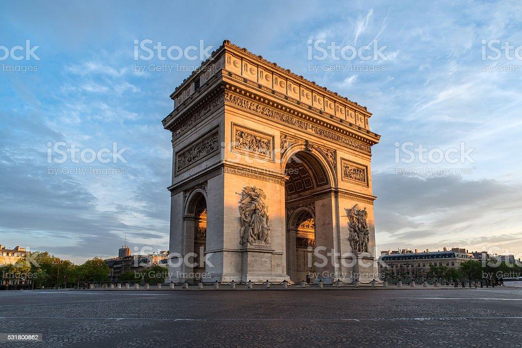Arc de Triomphe Paris city at sunset stock photo