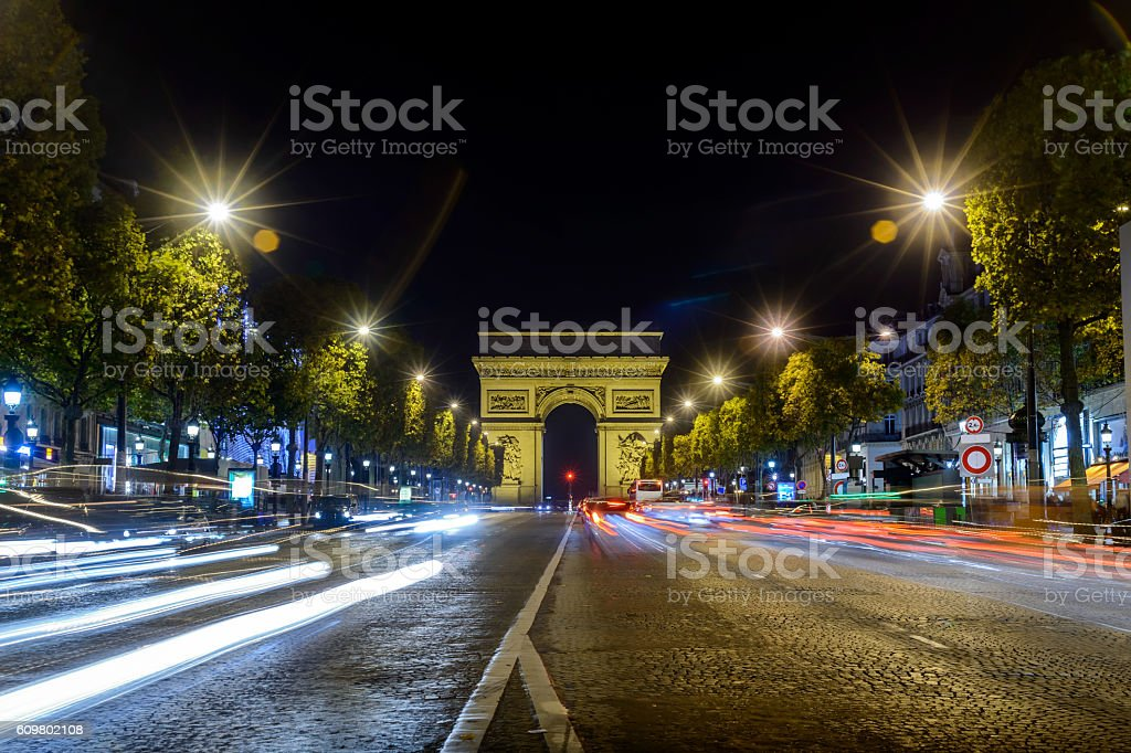 Arc de Triomphe Paris city night view from the road stock photo