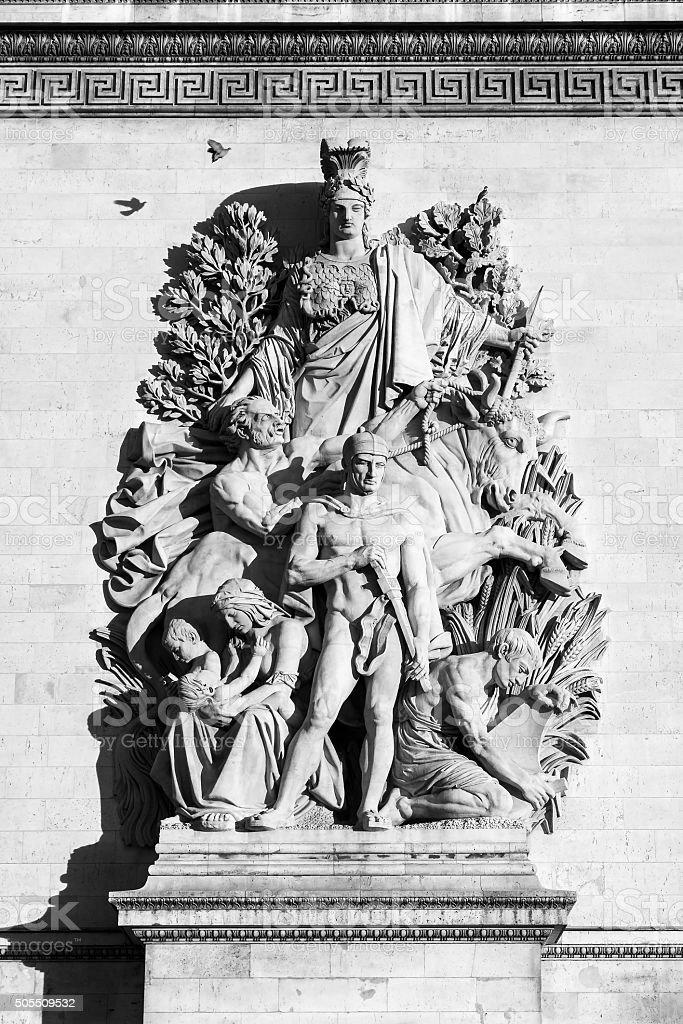 Arc de Triomphe sculpture stock photo
