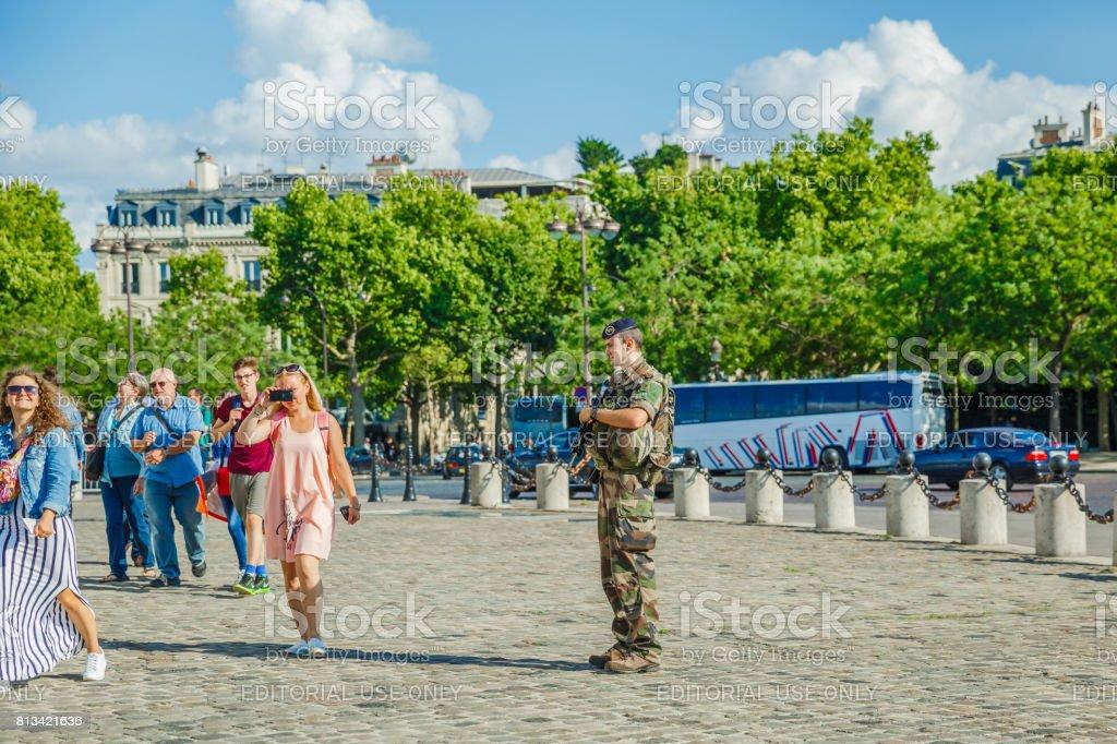 Arc de Triomphe security stock photo