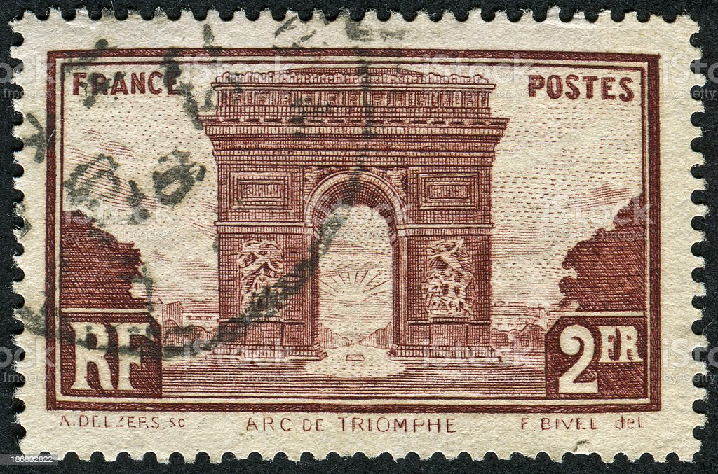 Arc de Triomphe Stamp royalty-free stock photo