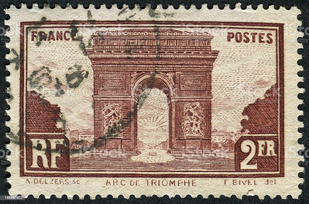 Arc de Triomphe Stamp stock photo