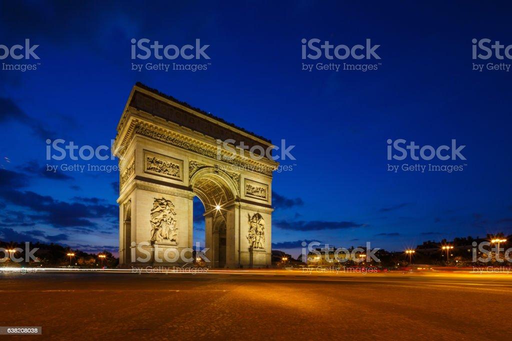 Arc de Triomphe twilight photo, Avenue de Champs Elysees, Paris, stock photo