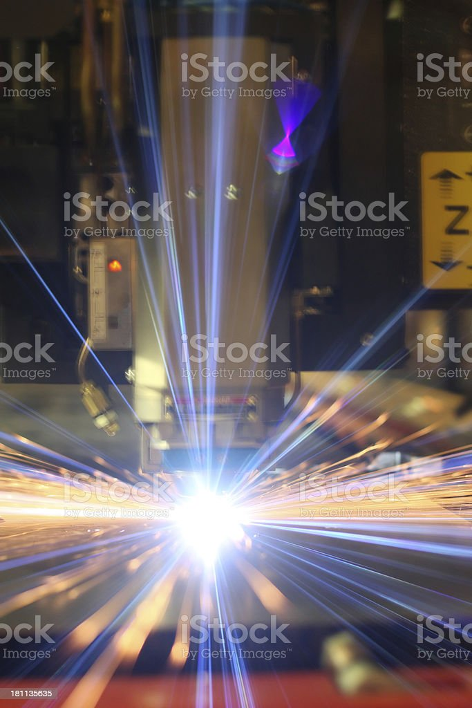 Arc flash of a laser cutting machine stock photo