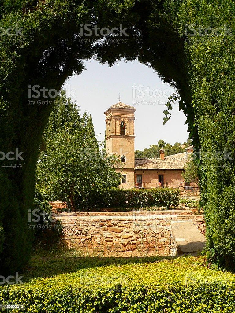 Arc of Alhambra garden royalty-free stock photo