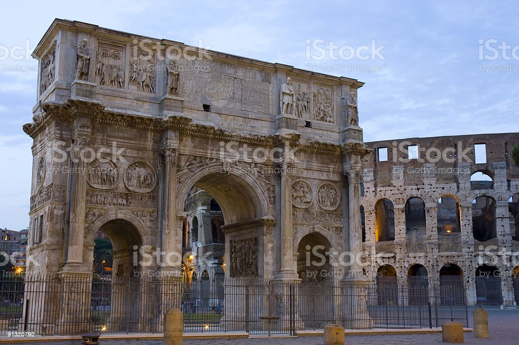 Arc of Constantine and Coliseum stock photo