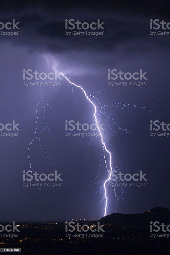 Arc of lightning strike stock photo