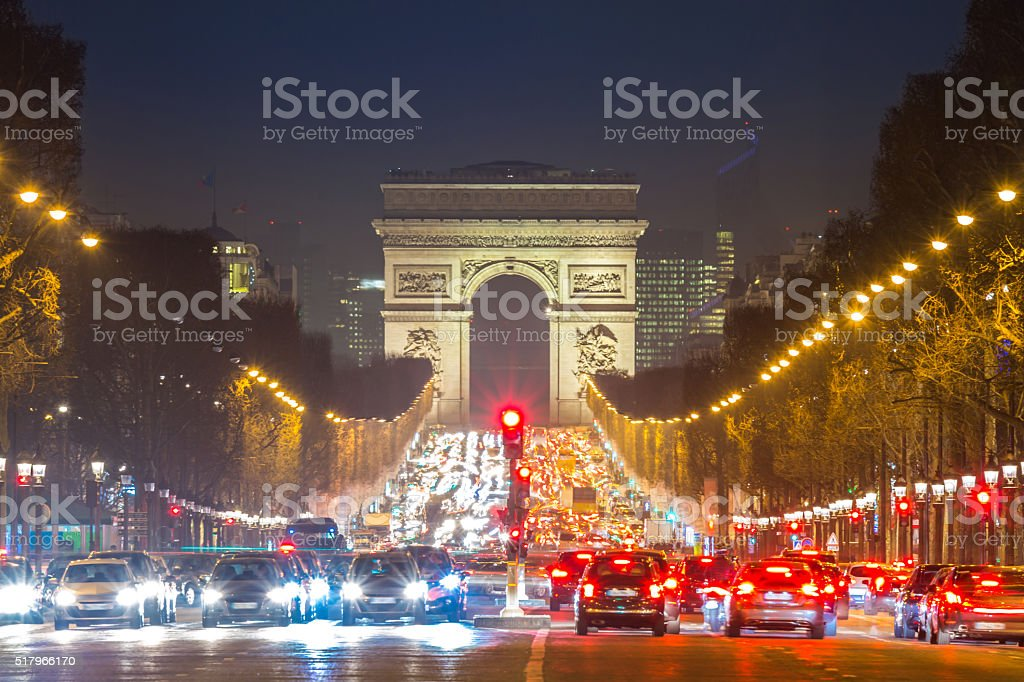 Arc of Triomphe Champs-Elysees Paris France stock photo