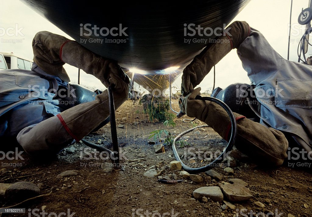 arc welders at work stock photo