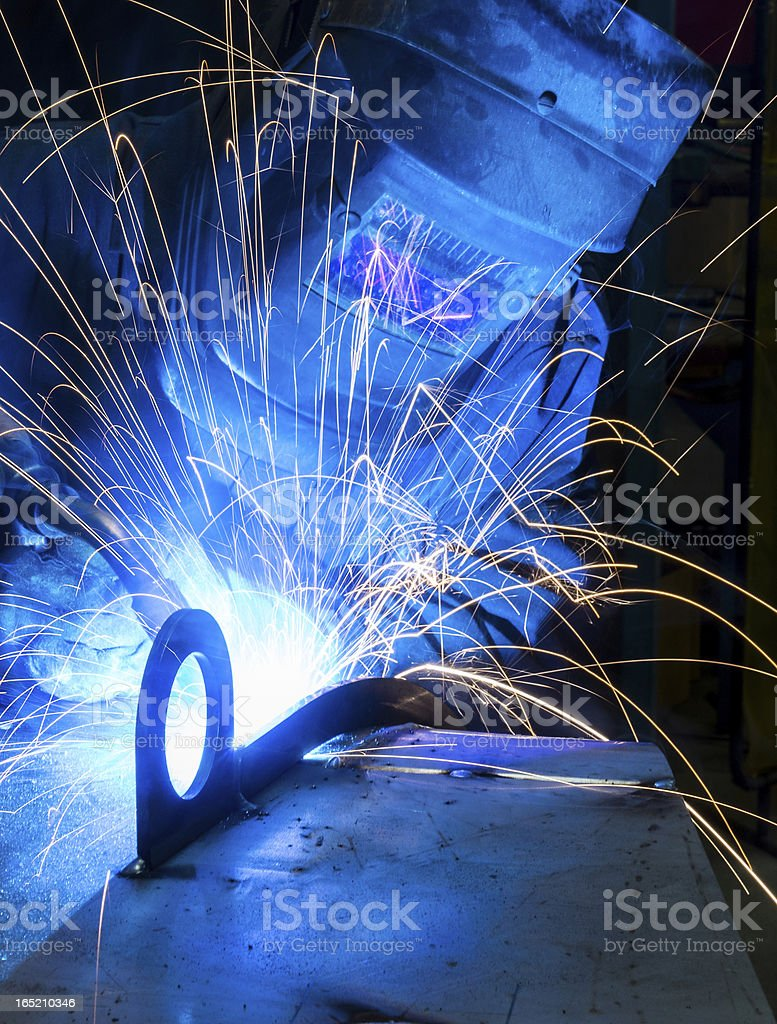 Arc Welding in a metal fabrication plant royalty-free stock photo