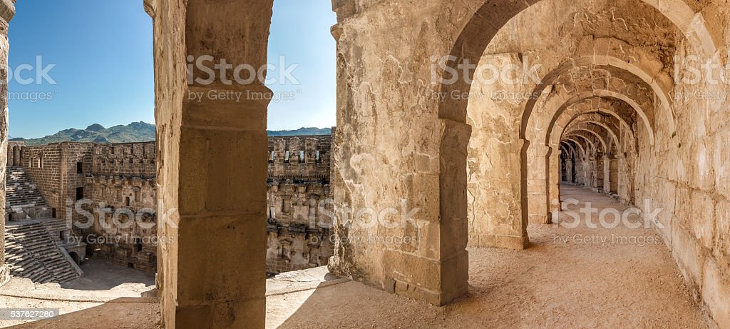 Arcade and amphitheater of Aspendos stock photo