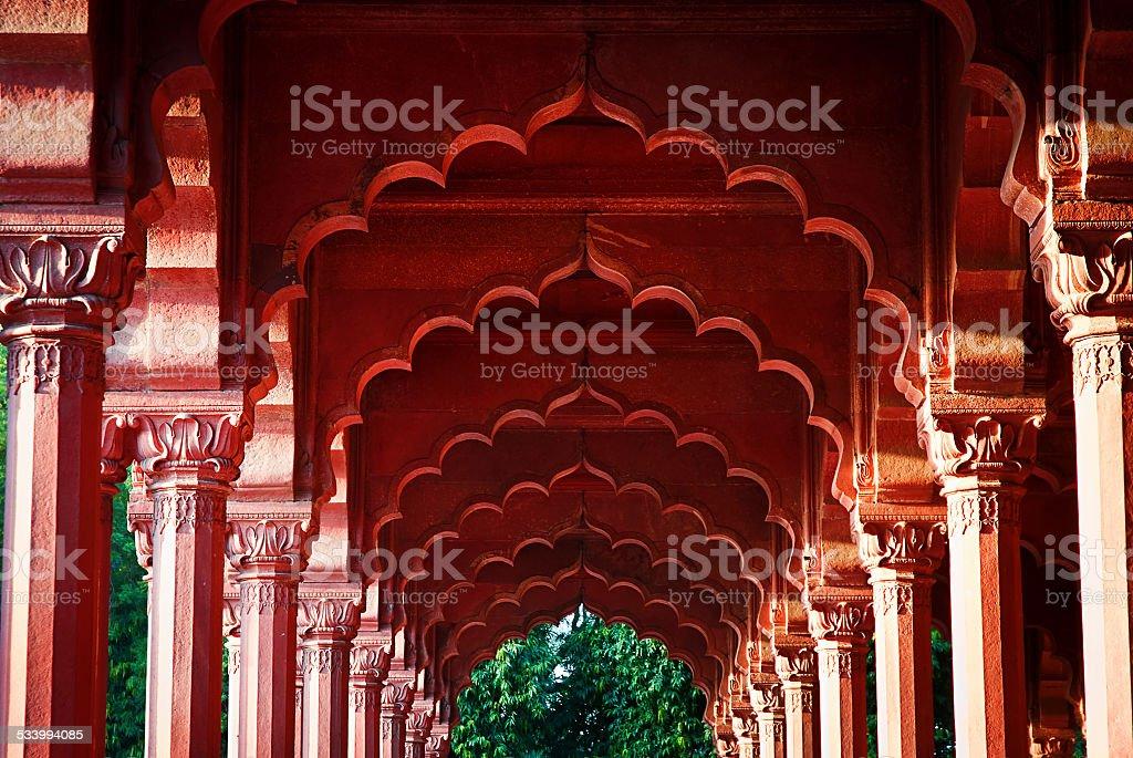 Arcade sur le Fort rouge, Delhi, Inde photo libre de droits