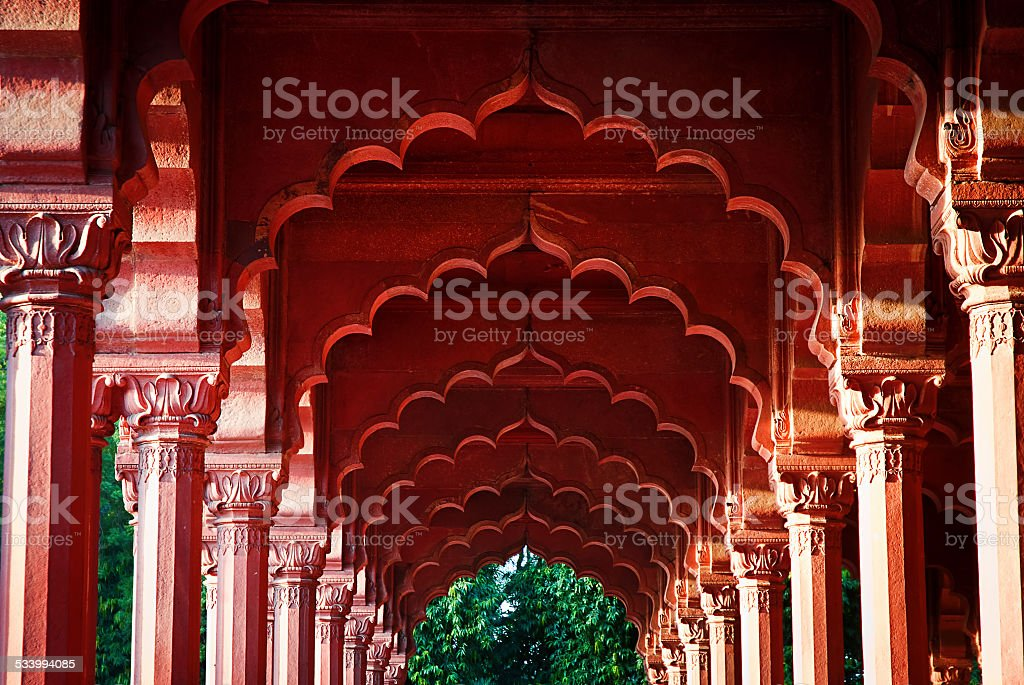 Arcade at the Red Fort, Delhi, India stock photo