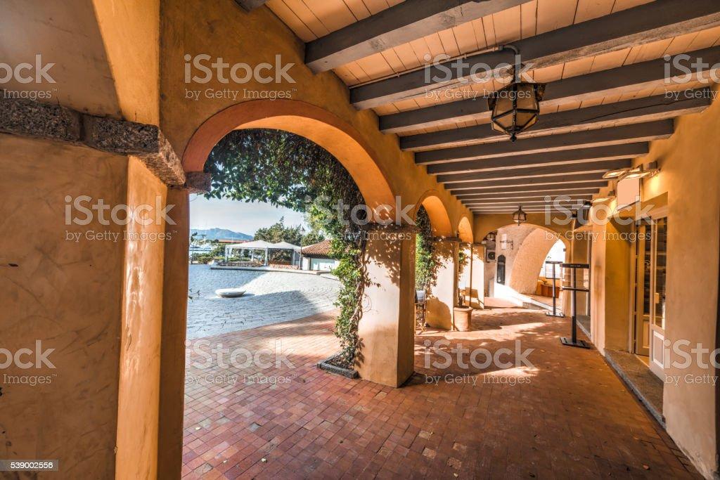 arcade in Porto Rotondo in Costa Smeralda stock photo
