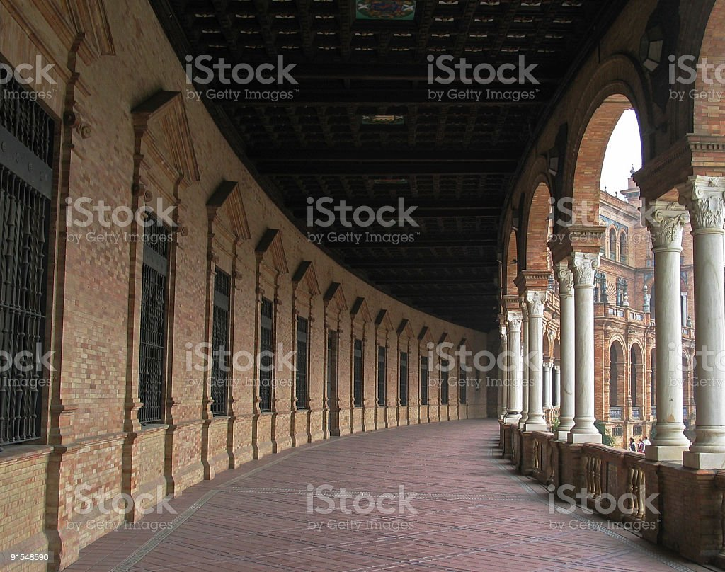 Arcade in Sevilla, Spain royalty-free stock photo