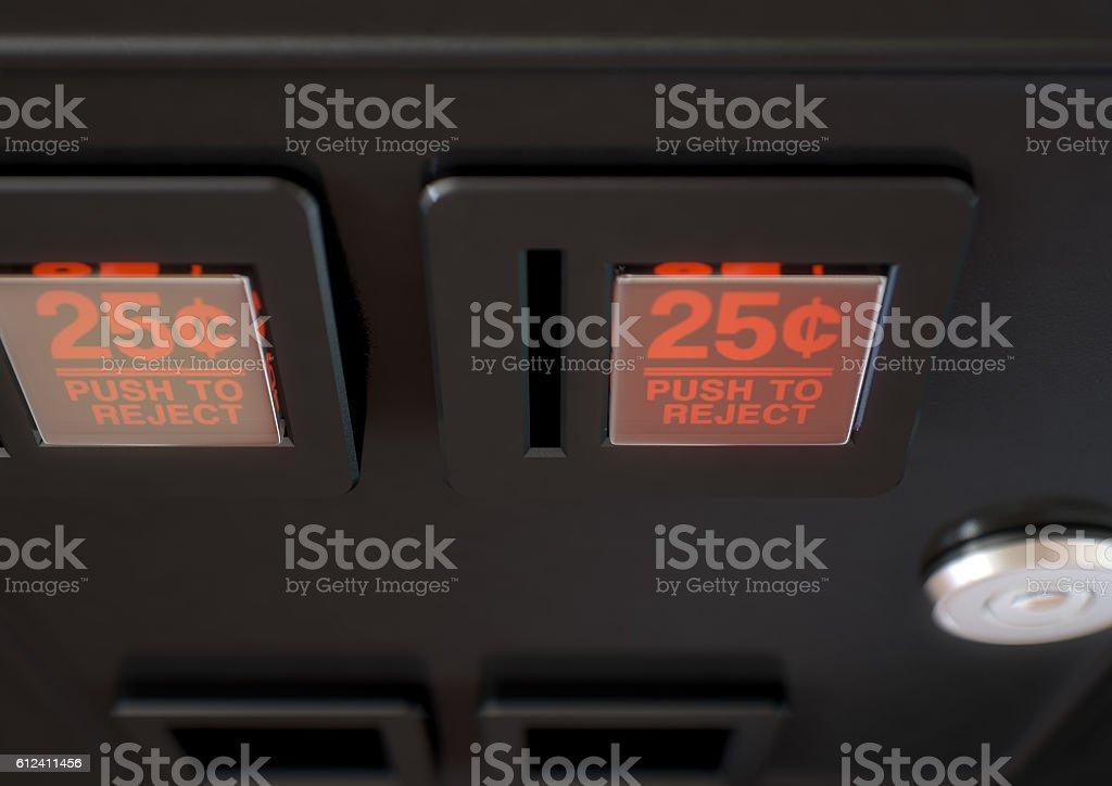 Arcade Machine Coin Slot Panel stock photo