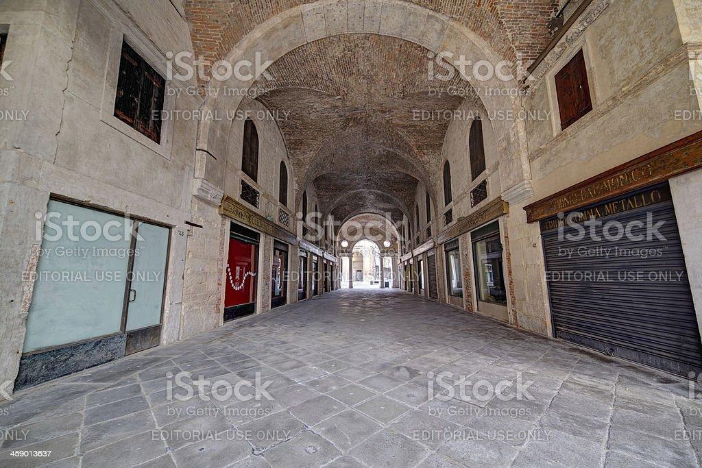 """Arcade of Basilica Palladiana (""""Palazzo della Ragione""""). Vicenza-Italy. stock photo"""