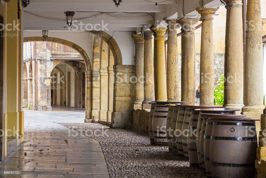 Arcades and columns famous ancient city of Aviles Spain stock photo