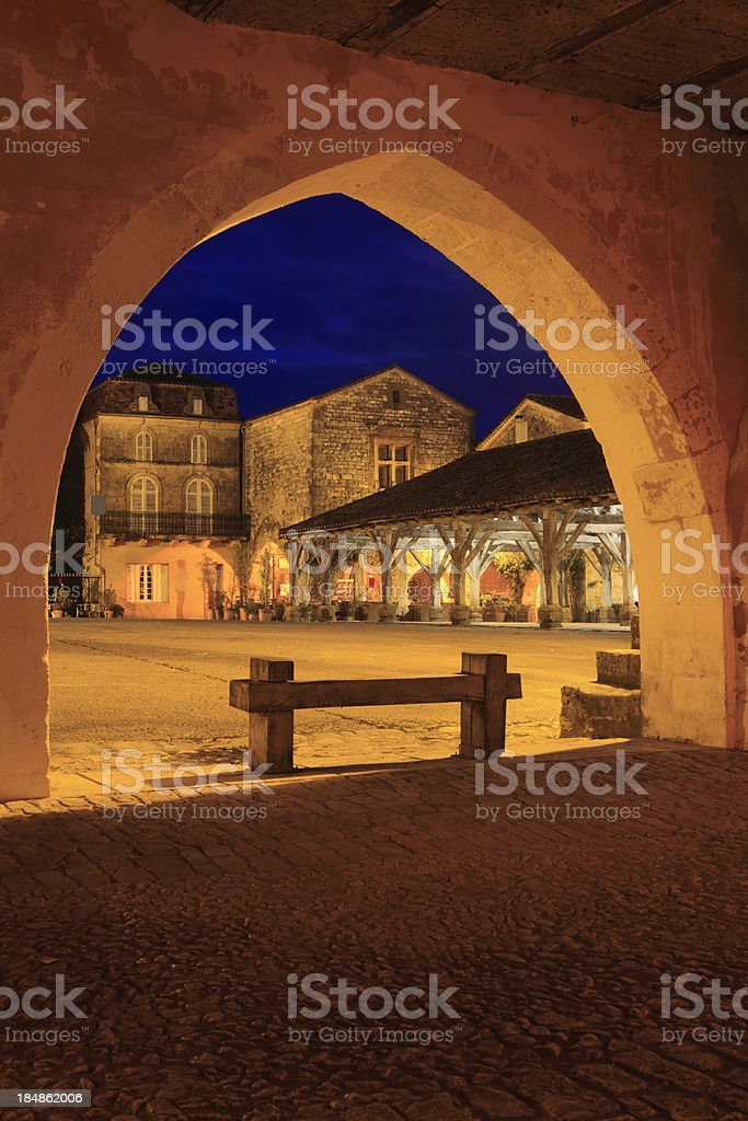 arcades and houses on the Place des Cornières at Monpazier stock photo