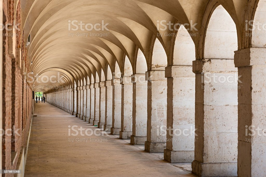 Arcades in Aranjuez, Madrid stock photo