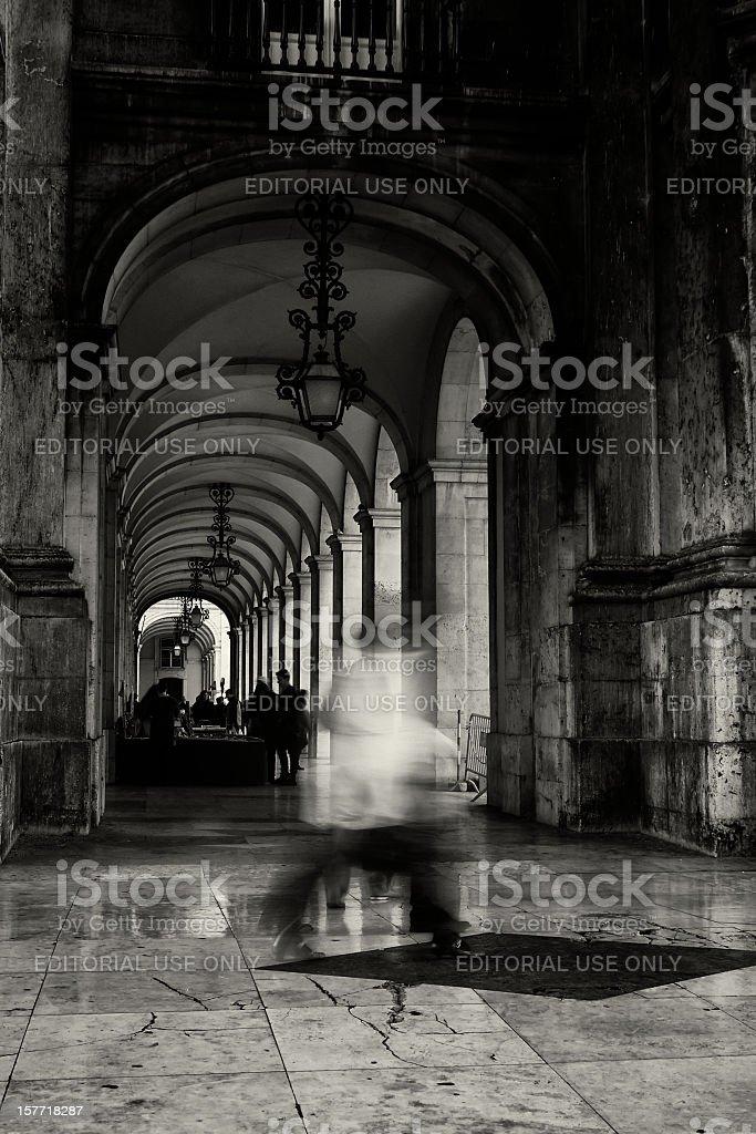 Arcades in Lisbon stock photo