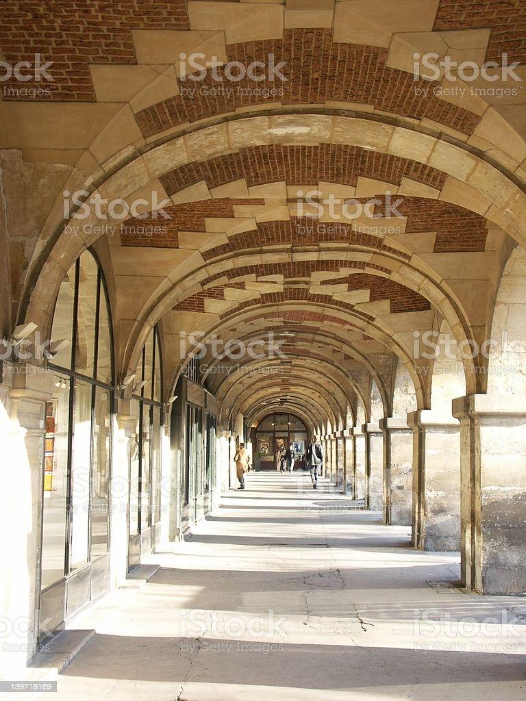 Arcades in Vosges place (Paris) royalty-free stock photo