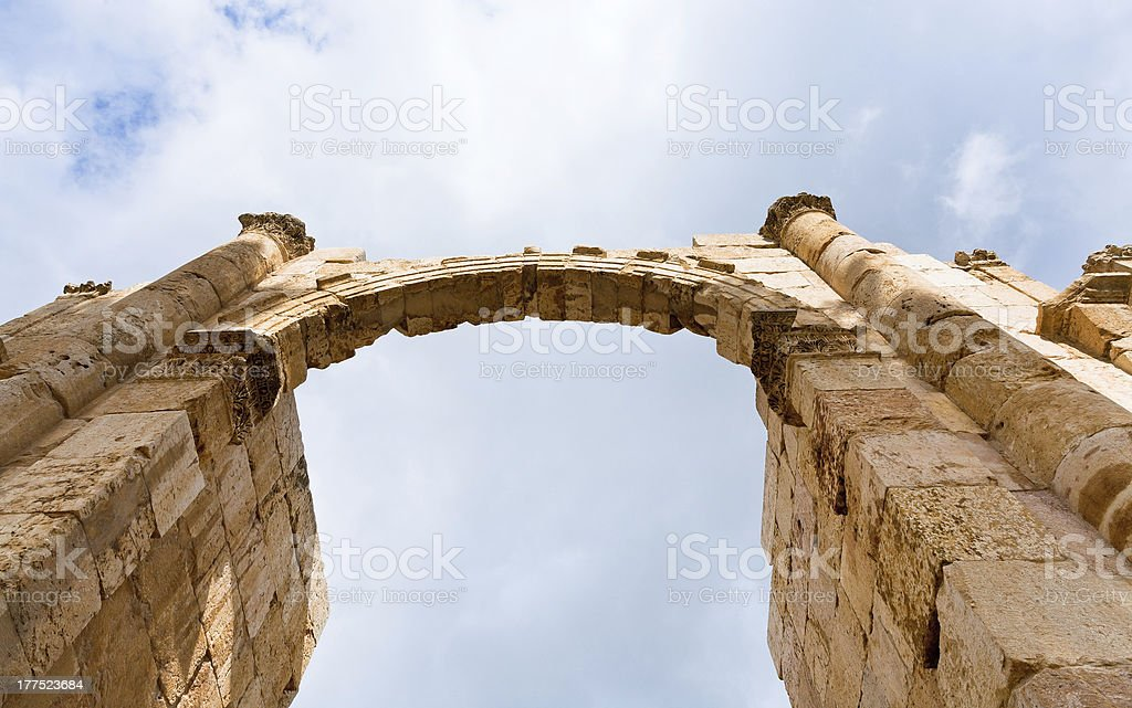 arch and column in antique city of Gerasa Jerash stock photo