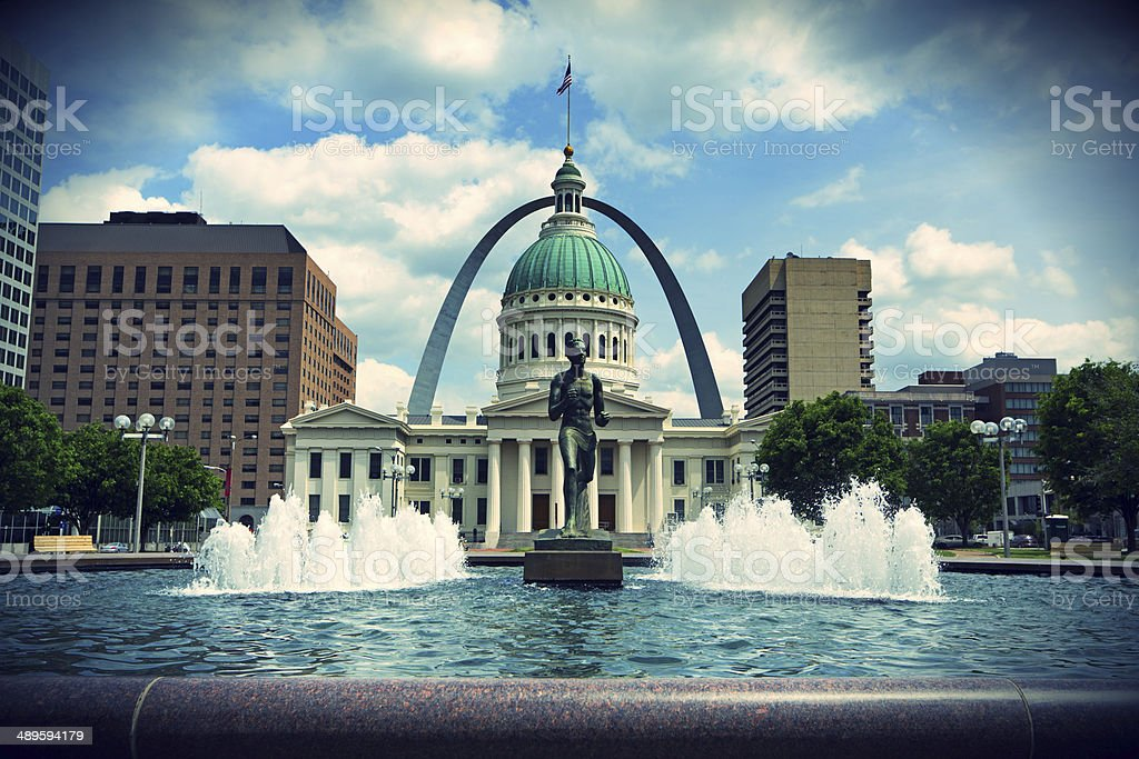 Arch and Courthouse in St. Louis Missouri stock photo