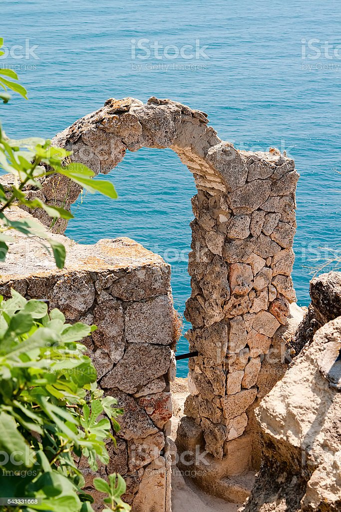 Arch at the edge of Cape Kaliakra. Bulgaria. stock photo