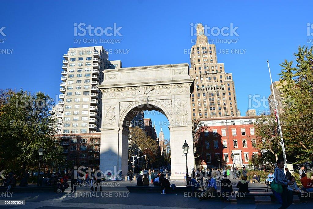Arch at Washington square park stock photo