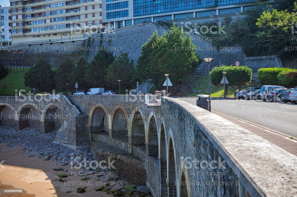 Arch base of the waterfront of Getaria stock photo