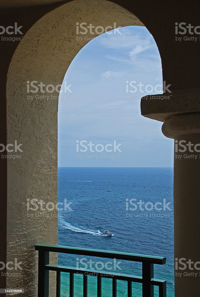 Arch, Boat and Ocean royalty-free stock photo