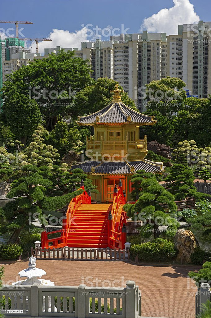 Arch Bridge and Pavilion in Nan Lian Garden, Hong Kong. stock photo