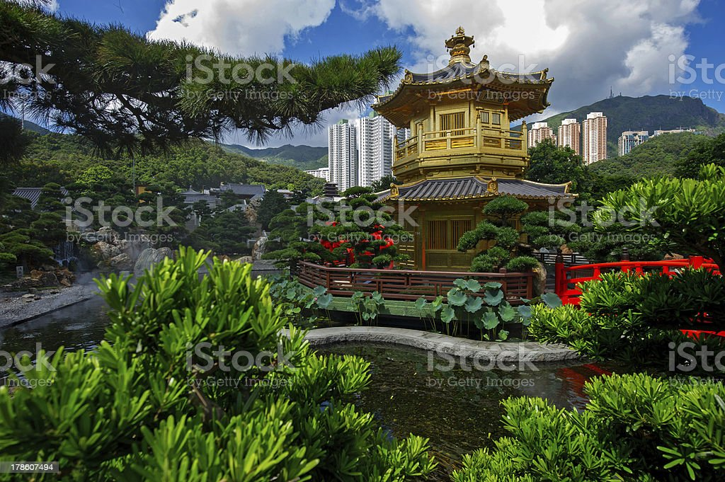 Arch Bridge and Pavilion in Nan Lian Garden stock photo