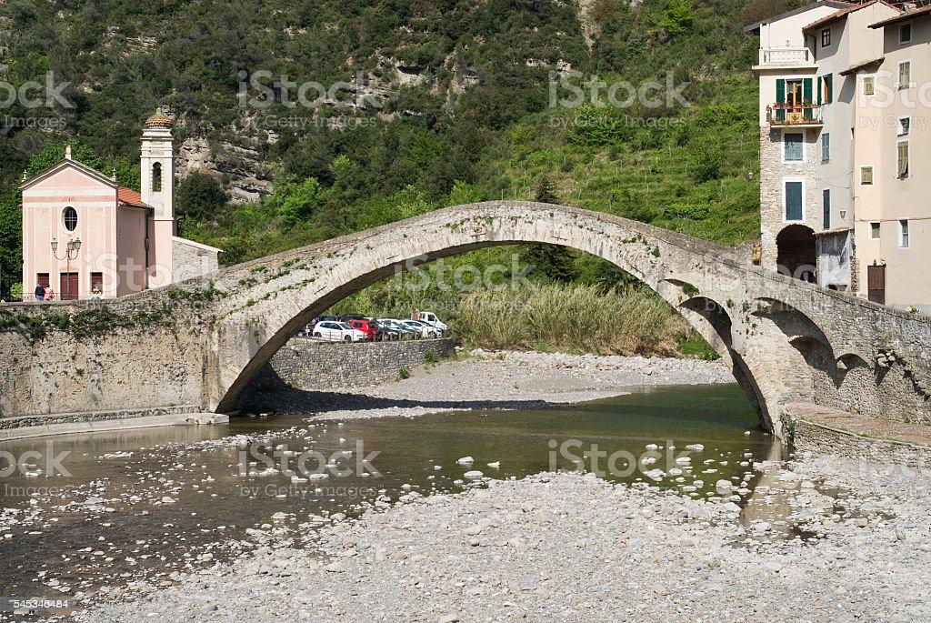 Arch Bridge at Dolceacqua, Italy stock photo