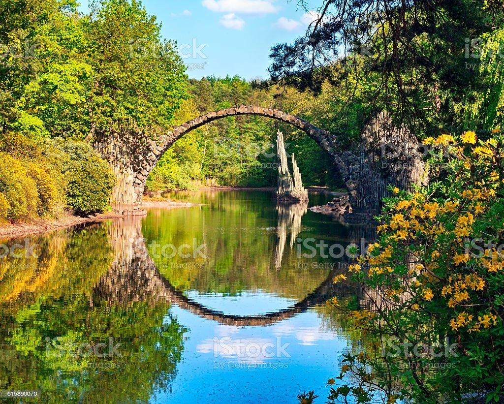 Arch Bridge (Rakotzbrucke) in Kromlau, Germany stock photo