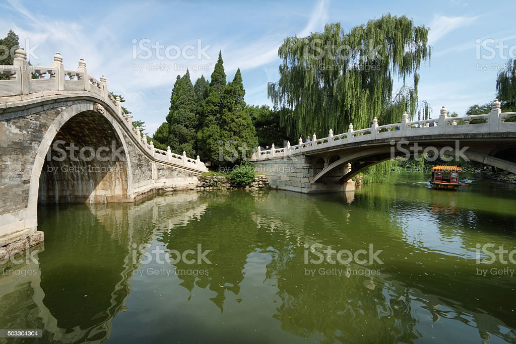 Arch bridge in Summer Palace stock photo