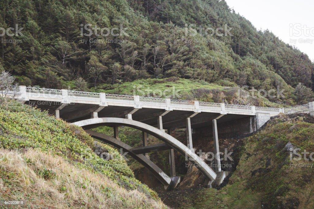 Arch bridge on the Pacific Coast Highway stock photo