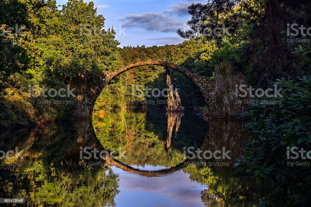 Arch bridge Rakotzbrucke in Kromlau-Germany stock photo