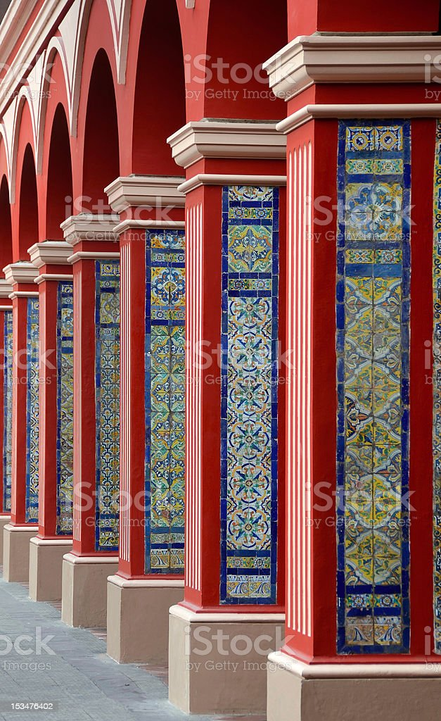 Arch Columns with Colorful tiles - Lima royalty-free stock photo