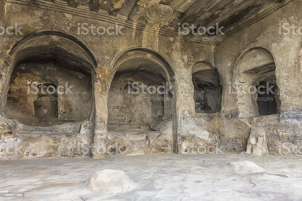 Arch cutouts in cave city Uplistsikhe. stock photo